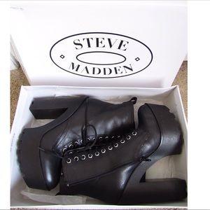 Steve Madden Global Black Leather Combat Boots
